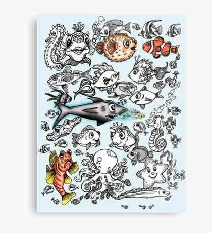 Cartoon Fishies  Metal Print