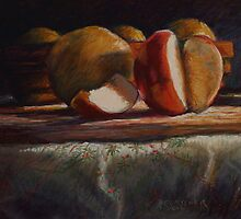 Still Life in Soft Pastels - Apple and Grapefruit by Sue Deutscher