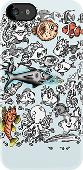 Cartoon Fishies IPhone Case by Ameda Nowlin