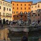 Early Morning Warmth - Neptune Fountain on Piazza Navona in Rome, Italy by Georgia Mizuleva