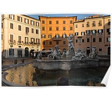 Early Morning Warmth - Neptune Fountain on Piazza Navona in Rome, Italy Poster