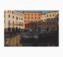 Early Morning Warmth - Neptune Fountain on Piazza Navona in Rome, Italy One Piece - Long Sleeve