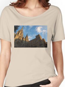Warm Sun Glow On The Cathedral Of Barcelona Women's Relaxed Fit T-Shirt