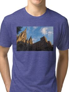 Warm Sun Glow On The Cathedral Of Barcelona Tri-blend T-Shirt