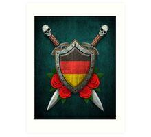 German Flag on a Worn Shield and Crossed Swords Art Print