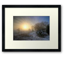 Snowy Landscape Sunrise  Framed Print