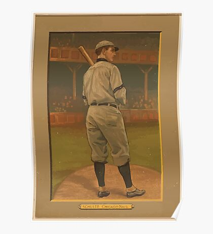 Benjamin K Edwards Collection Wildfire Schulte Chicago Cubs baseball card portrait Poster