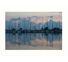 Pink and Blue Peace - Still Sailboat Reflections  Art Print