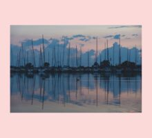 Pink and Blue Peace - Still Sailboat Reflections  Kids Tee