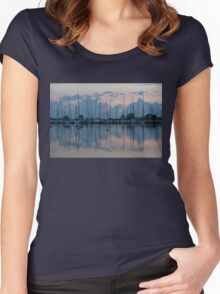 Pink and Blue Peace - Still Sailboat Reflections  Women's Fitted Scoop T-Shirt