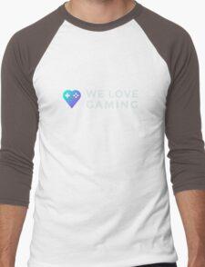 Blue We Love Gaming Heart + Text Variation Men's Baseball ¾ T-Shirt