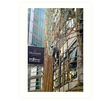 High up the bamboo scaffold Art Print