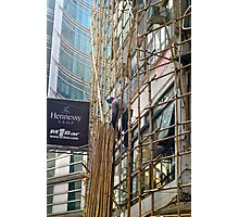 High up the bamboo scaffold Photographic Print