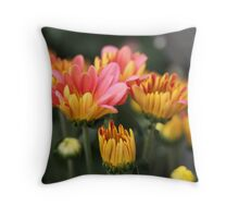 Yellow and Pink Flower Scene 7091 Throw Pillow