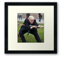 Boris Johnson grits his teeth during tug of war Framed Print