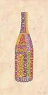 Burgundy Wine Word Bottle by mitchfrey