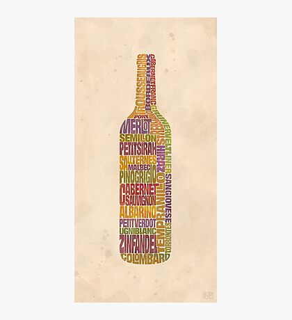 Bordeaux Wine Word Bottle Photographic Print