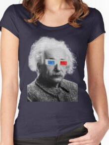 Einstein - 3D Women's Fitted Scoop T-Shirt