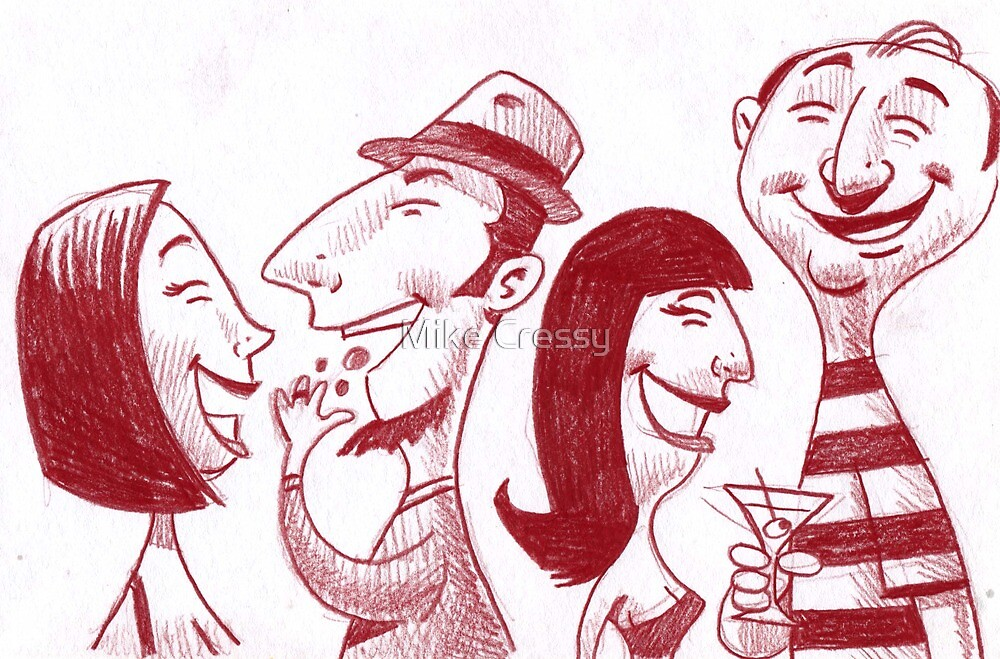 People at the Super Bowl party. by Mike Cressy