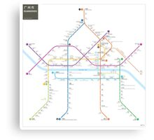 Guangzhou metro map  Canvas Print