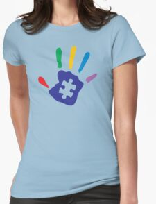 Colorful Autism Hand Womens Fitted T-Shirt