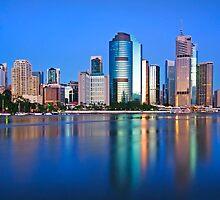 Blue Dawn - Brisbane City Qld Australia by Beth  Wode