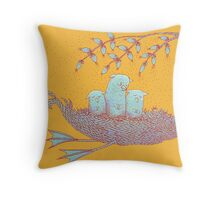Sweet Dreams of the Owl Pups on their Night Journey Throw Pillow