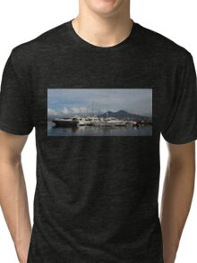 Vesuvius Volcano and the Boats in Naples, Italy Harbor Tri-blend T-Shirt