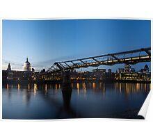 Reflecting on Bridges and Skylines - City of London, England, UK Poster