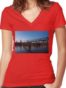 Reflecting on Bridges and Skylines - City of London, England, UK Women's Fitted V-Neck T-Shirt