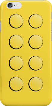 Lego Brick iPhone Case (yellow) by PEZRULEZ