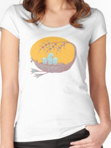 Sweet Dreams of the Owl Pups on their Night Journey Women's Fitted Scoop T-Shirt
