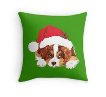 Red Tri Aussie Puppy in a Santa Hat Throw Pillow