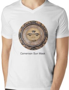 Sun Mask from Cameroon Mens V-Neck T-Shirt