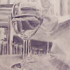 Wine Glasses with Water by Trevett  Allen