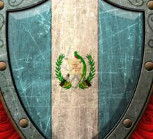 Guatemalan Flag on a Worn Shield and Crossed Swords Sticker