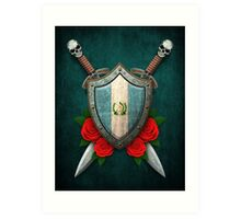 Guatemalan Flag on a Worn Shield and Crossed Swords Art Print