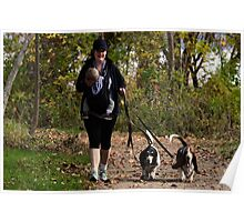 Woman w/ child and Bassets / Portraiture and the rule of thirds  Poster