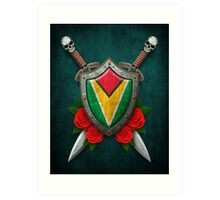 Guyanese Flag on a Worn Shield and Crossed Swords Art Print