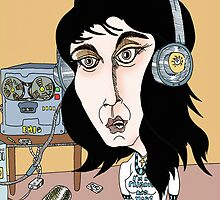 Kate Bush Recording Cartoon 1 by Grant Wilson