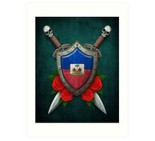 Haitian Flag on a Worn Shield and Crossed Swords Art Print