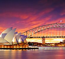 Fiery sky over Opera house by AtomicZen