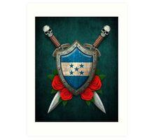 Honduras Flag on a Worn Shield and Crossed Swords Art Print