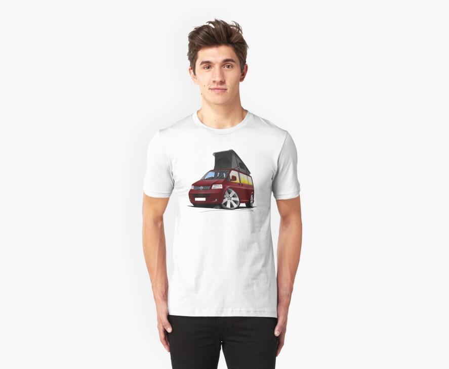 VW T5 California Camper Van Dark Red by Richard Yeomans