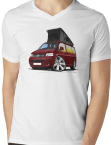 VW T5 California Camper Van Dark Red Mens V-Neck T-Shirt