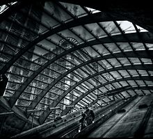 Entrance to Canary Wharf DLR Station BW by Alan E Taylor
