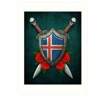 Icelandic Flag on a Worn Shield and Crossed Swords Art Print