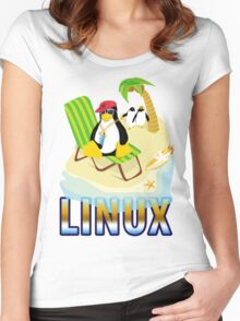 Funny with TUX (linux) Women's Fitted Scoop T-Shirt