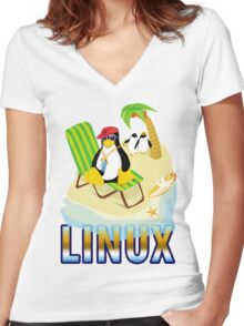 Funny with TUX (linux) Women's Fitted V-Neck T-Shirt