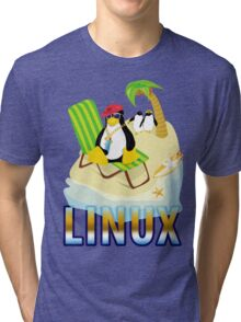 Funny with TUX (linux) Tri-blend T-Shirt